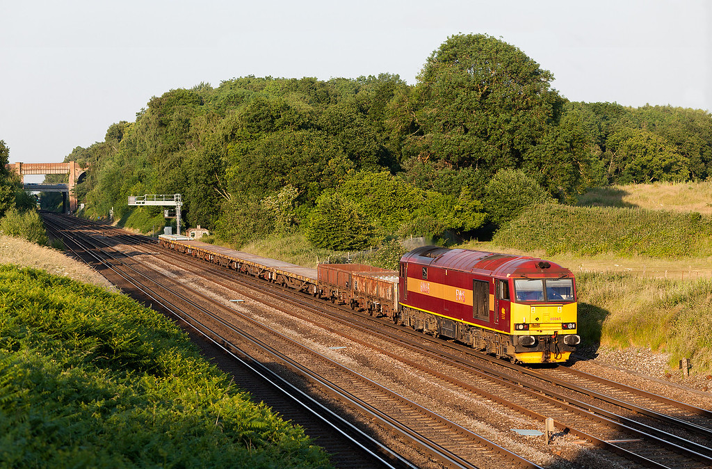 Just perfect! On a stunning summers evening, 60065 'Spirit of Jaguar' throbs down the slow line at Totters Lane, Winchfield with the 6N13 19.00 Addlestone-Eastleigh East Yard engineering train. 7.7.13