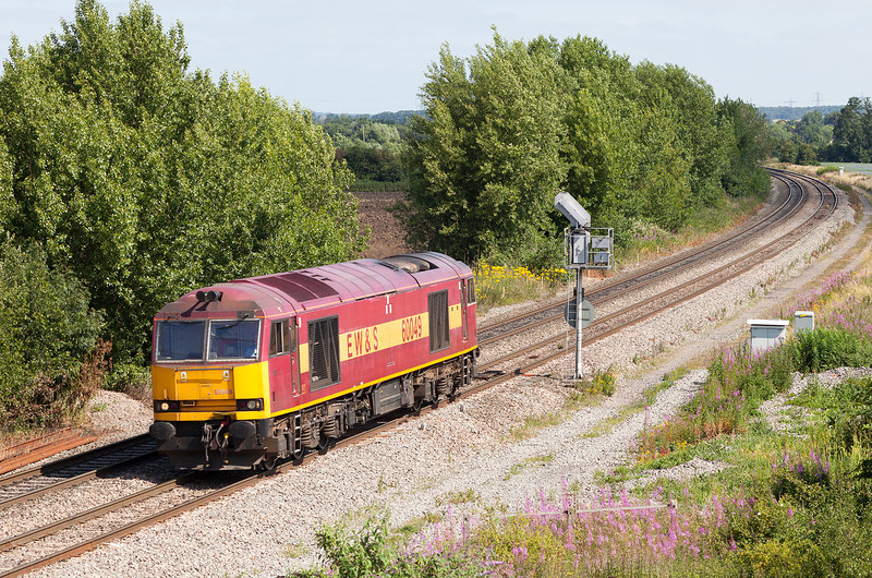 Sunshine, perfect angle and annoyingly it's a light engine. 60049 approaches Didcot North Junction with what should have been the 6O26 10.21 Hinksey VQ-Eastleigh.11.7.13