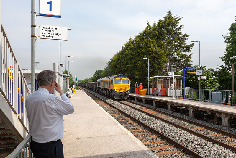 66738 rumbles through Castle Bar Park with the 09.20 Crossrail spoil train from Westbourne Park to Northfleet Lafarge. 18.6.13