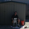 Dennis painting the shed (man cave).