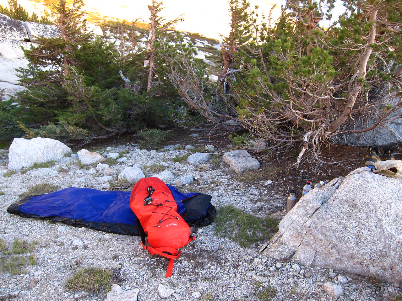 Bivy near the base of the West Ridge of Conness