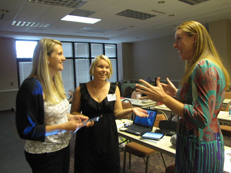 During the icebreaker, the Speech Garden's enthusiastic staff members shared a conversation (Standing left to right: Jennifer, Ellen Holloway, and Kelly L. Crouch)