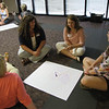 Intern icebreaker (Seated left to right: Hannah Myers, Brittni Bullins, Susanne Ritchie, and Mary Beth Wierman)