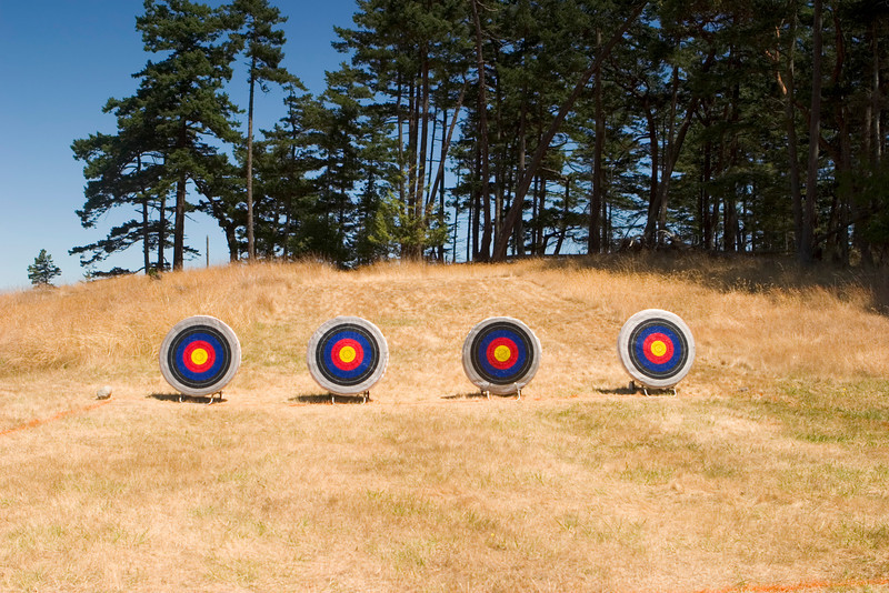 Four archery targets are set up on an archery range at a summer camp. These targets have been pockmarked by arrows.