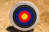 A single archery target. As a summer camp activity, this target shows the evidence of much practice with arrow marks.