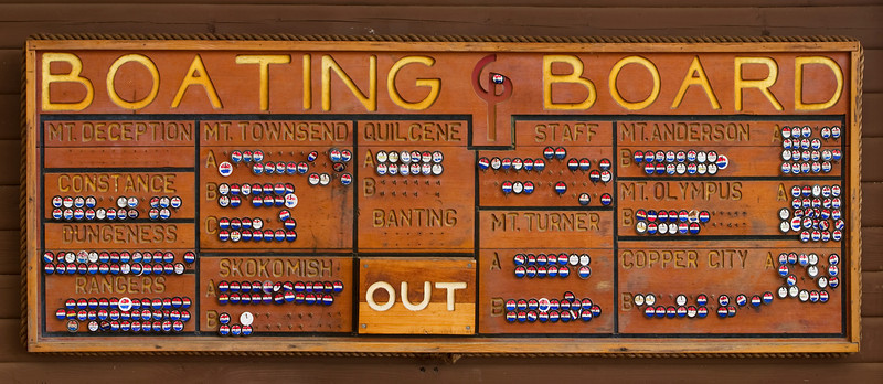 The boating board at boy scout camp showing the progress of all of the campers, by their campground ares (e.g. Quilcene, Rangers, etc) towards their merit badges.