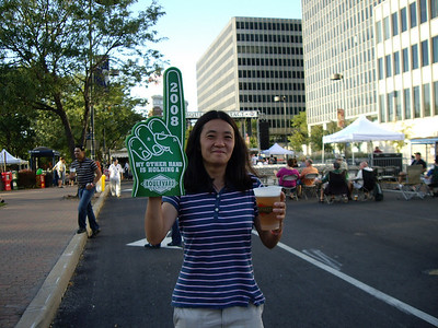 Sarah shows off the freebie finger she got from the Boulevard Brewery booth at the Irish Fest.