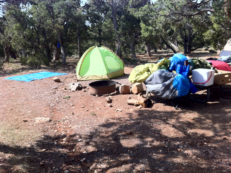 After a rainy night at the Grand Canyon, drying our gear