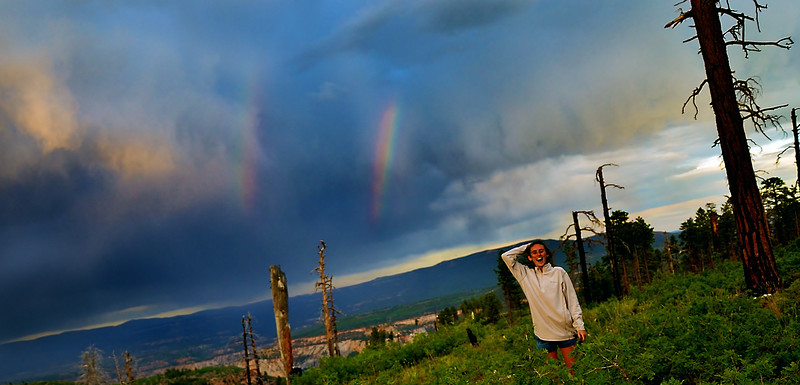 Double rainbow at the campsite!