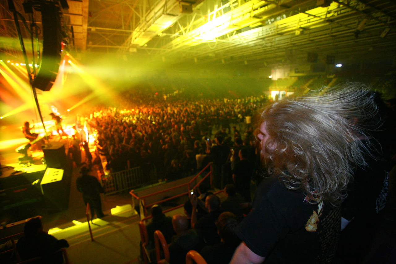Martin McDonough of Lincoln rocks out to heavy metal band Lamb of God at the Colisee on Friday night.