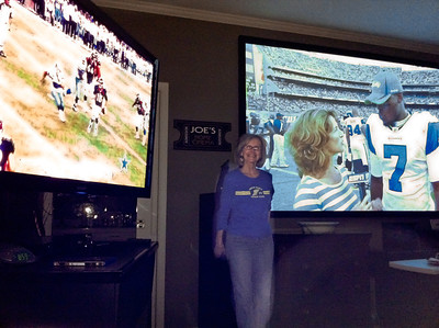 "IMG_1842 Joe's mom is a reference for the Picture-In-Picture feature of his home theater system. 60"" on left, 120"" on right."