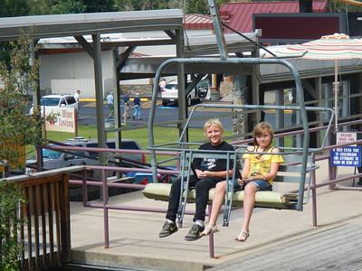 Brendan & Hannah riding chairlift to Alpine Slide