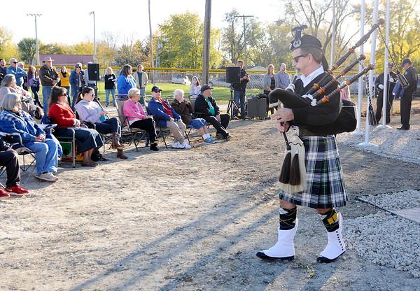 Don Knight | The Herald Bulletin<br /> Dedication of Summitville's new monument honoring veterans on Saturday.