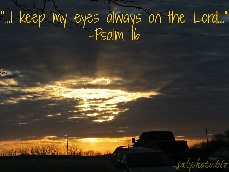 """Psalm 16New International Version (NIV)<br /> <a href=""""https://www.biblegateway.com/passage/?search=Psalm%2016&version=NIV"""">https://www.biblegateway.com/passage/?search=Psalm%2016&version=NIV</a><br /> <br /> <br /> 1 <br /> Keep me safe, my God,<br />     for in you I take refuge.<br /> <br /> 2 <br /> I say to the Lord, """"You are my Lord;<br />     apart from you I have no good thing.""""<br /> 3 <br /> I say of the holy people who are in the land,<br />     """"They are the noble ones in whom is all my delight.""""<br /> 4 <br /> Those who run after other gods will suffer more and more.<br />     I will not pour out libations of blood to such gods<br />     or take up their names on my lips.<br /> <br /> 5 <br /> Lord, you alone are my portion and my cup;<br />     you make my lot secure.<br /> 6 <br /> The boundary lines have fallen for me in pleasant places;<br />     surely I have a delightful inheritance.<br /> 7 <br /> I will praise the Lord, who counsels me;<br />     even at night my heart instructs me.<br /> 8 <br /> I keep my eyes always on the Lord.<br />     With him at my right hand, I will not be shaken.<br /> <br /> 9 <br /> Therefore my heart is glad and my tongue rejoices;<br />     my body also will rest secure,<br /> 10 <br /> because you will not abandon me to the realm of the dead,<br />     nor will you let your faithful[b] one see decay.<br /> 11 <br /> You make known to me the path of life;<br />     you will fill me with joy in your presence,<br />     with eternal pleasures at your right hand.<br /> <br /> <a href=""""http://www.openbible.info/topics/staying_focus"""">http://www.openbible.info/topics/staying_focus</a><br /> <br /> <a href=""""https://creativemusicartsy.wordpress.com/2015/07/17/music-new-song-keep-your-eyes-on-him/"""">https://creativemusicartsy.wordpress.com/2015/07/17/music-new-song-keep-your-eyes-on-him/</a><br /> <br /> <br /> <a href=""""http://smu.gs/1HC4KPM"""">http://smu.gs/1HC4KPM</a><br /> <br /> <a href=""""https://salphotobiz.smugmug.com/Oth"""