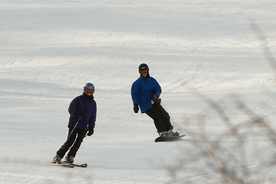Abby and Gennie skiing down Tempest (at great distance - heavily cropped)