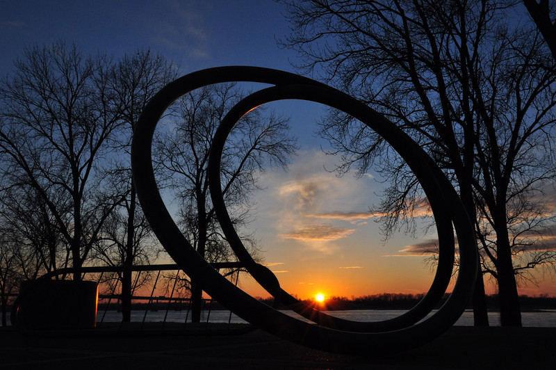 A bike rack and sculpture by the Mississippi River, Memphis, TN