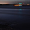 A time exposure of 30 seconds of the Mississippi River at night