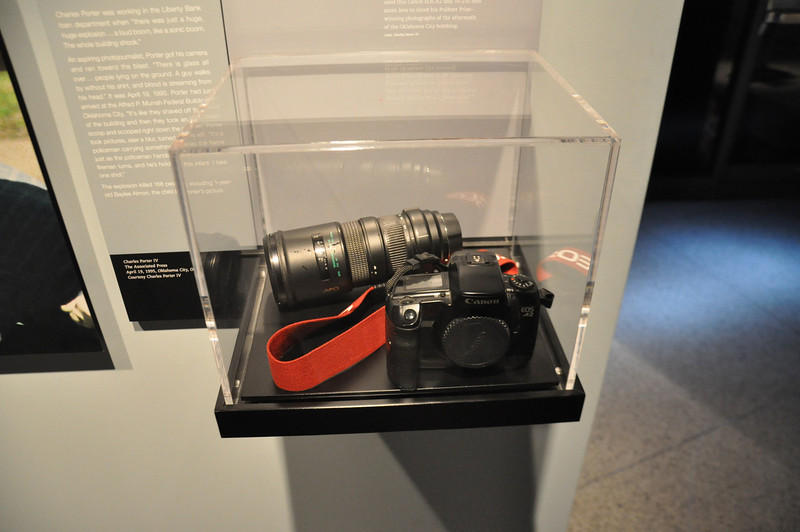 """From the Newseum. The camera and lens used to take the historic """"fire fighter and baby"""" photo at the Oklahoma City Bombing, 4/19/1995"""