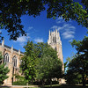 Trees frame the church at University of the South - Sewanee in Tennessee.