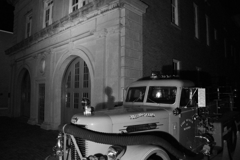 "Old Memphis fire station ! opened in 1910 when trucks were pulled by horses.Today it is the Fire Museum of Memphis. The harsh light and black and white gave the station an old ""Speed Graphic"" look"
