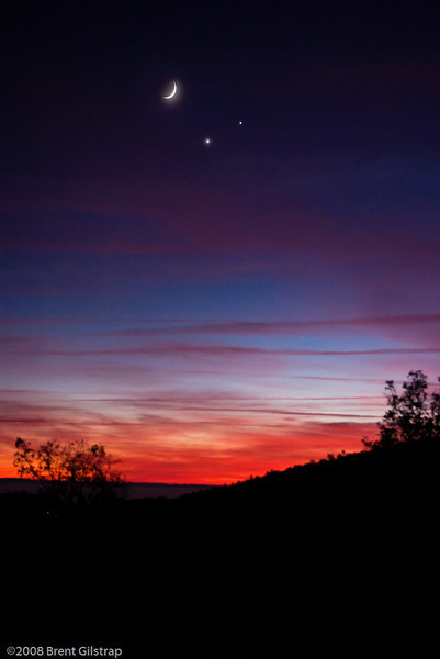 Sunset with Moon, Venus, and Jupiter<br /> <br /> Mariposa, CA<br /> 1 December 2008