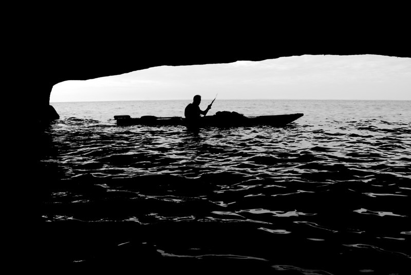 The view from inside an especially big sea cave on Bear Island. Way cool!
