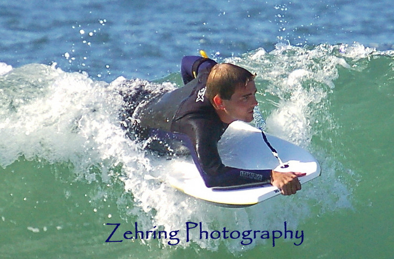 """Dropping down"" on a ""boogie board"" Avila Beach central coast California"