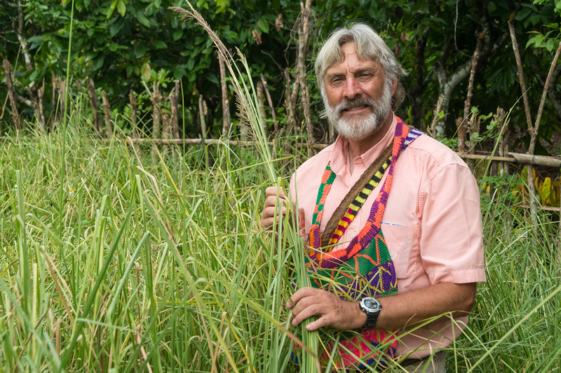 David Price examining a YMP3 Vetiver Grass nursery in the Meyah language area near Manokwari, West Papua, Indonesia, November 2015. [Papua Manokwari 2015-11 162 Indonesia]