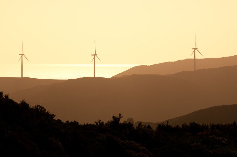 Wind Energy turbines in the sunset, from Karori, Wellington, New Zealand, December 2010. [Karori 2012-12 001 Wellington-NZ]