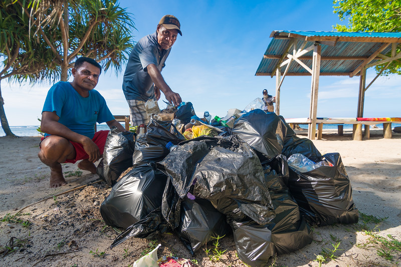 Beach Cleanup at Base G, near Jayapura, Papua, Indonesia, June 2018. We collected this pile of mostly plastic trash in less than 30 minutes and along about 50 meters of beach!