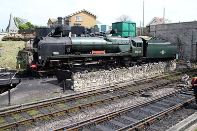 4-6-2 34028 'Eddystone' sits on Swanage shed  10/05/14.