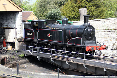 0-4-4T 30053 on Swanage Turntable  10/05/14.