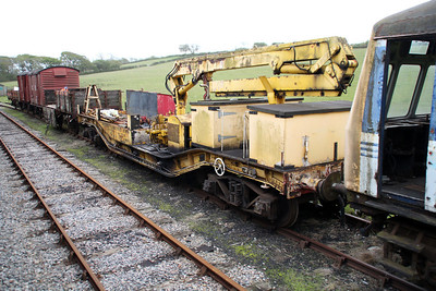 50t Bogie Warwell DS3150 fitted with crane ADRW96501 at Harmans Cross Siding  10/05/14.