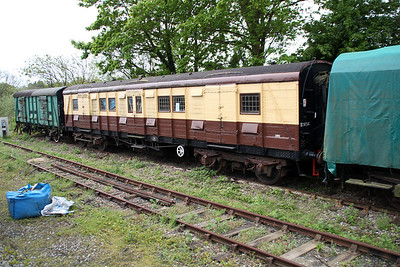SR Gangwayed Luggage Van S2464 at Corfe Castle Sidings  10/05/14.