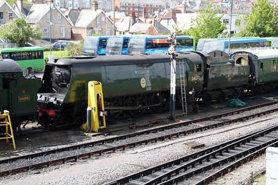 4-6-2 34070 'Manston' at Swanage Station sidings  10/05/14.