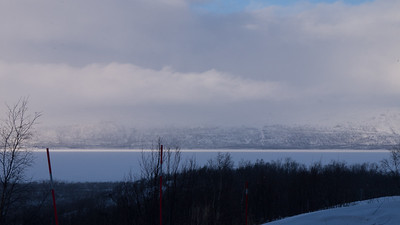 Scenery overlooking the lake Torneträsk from the STF Turiststation Abisko.