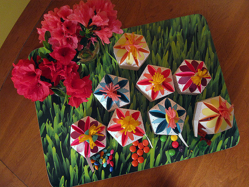 Entry #9 Inspired by the azaleas just beginning to bloom and the coming spring they signal, I created a flower-shaped treat box for my entry (able to hold most any small-sized treat).  I created a pattern for 5 and 6-sided boxes using CAD and Illustrator, printed out the PDF on cardstock, cut out the box, and used a bone folder to shape the intricate folds; the only other materials I used were scrap pieces of crewel yarn (to lace the box together and make the stamens for the flowers) and buttons; (all treats were purchased).