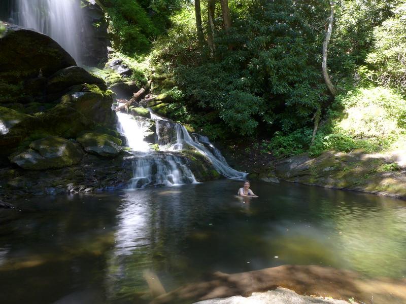 Swimming hole at the base of Upper Catawba Falls