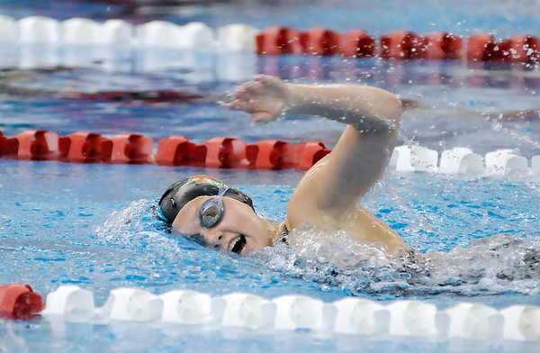 Don Knight / The Herald Bulletin<br /> Anderson Freshman Hannah Boerner swims in the 200 yard freestyle consolation heat during the swimming sectional finals at Fishers High School on Saturday.