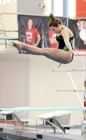 Don Knight / The Herald Bulletin<br /> Pendleton Heights' Taylor Fiew competes in the diving finals during the swimming sectional at Fishers High School on Saturday. Fiew finished third and will advance.