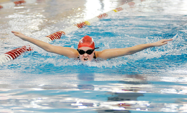 Don Knight / The Herald Bulletin<br /> Swimming sectional finals at Fishers High School on Saturday.