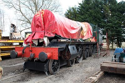 4-6-0 6984 'Owsden Hall' under restoration at Blunsdon Station car park    15/03/14