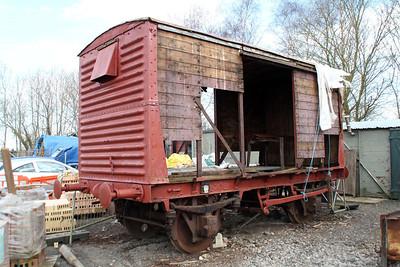 Unidentified LMSR 12t Vent Goods Van at Blunsdon Station car park under restoration   15/03/14