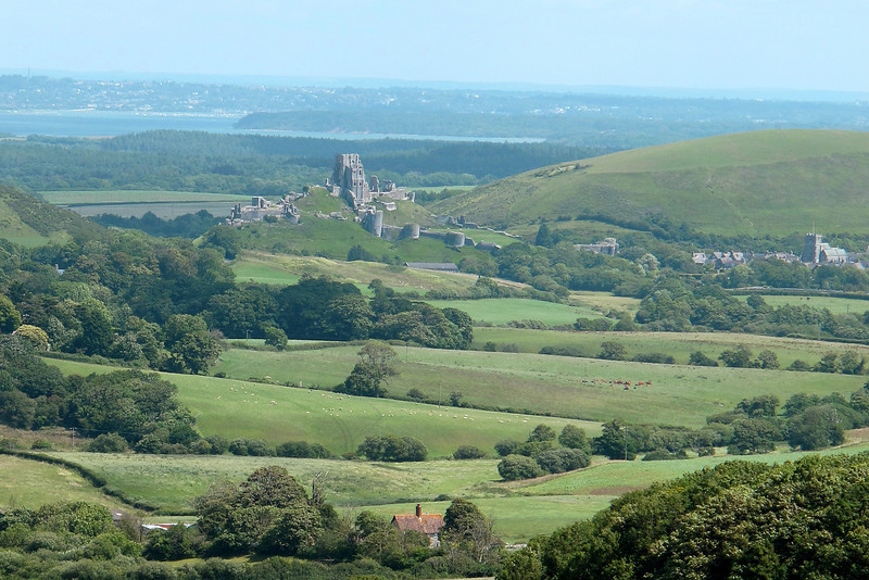 Corfe Castle accross the valley