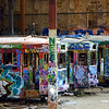 Graffitied trams. Harold Park