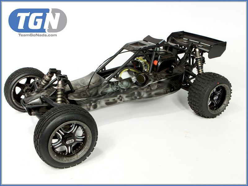 TGN Carbon Skull. Custom candy paint over a carbon Rhino Racing body. Custom rims from RAMTech-RC.