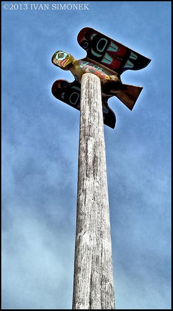 """KAJUK ON TOP"",a fabled bird,Chief johnson totem pole,Ketchikan,Alaska,USA."