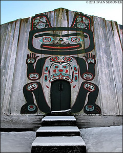 """NO VISITORS"",tribal house entrance,Shakes island,Wrangell,Alaska,USA."