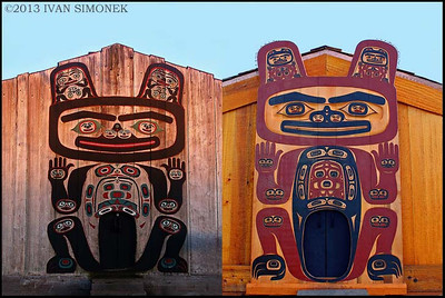 """OLD AND NEW"",Tlingit tribal house front,Shakes Island,Wrangell,Alaska,USA."