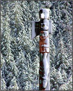 """FRESH SNOW"", Eagle totem, Wrangell, Alaska, USA-----""CERSTVY SNIH""."